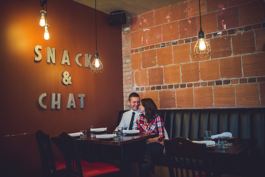 cibo calgary restaurant engagement photos snack and chat wall