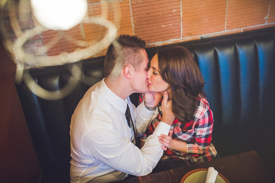 cibo calgary restaurant engagement photos kiss couple