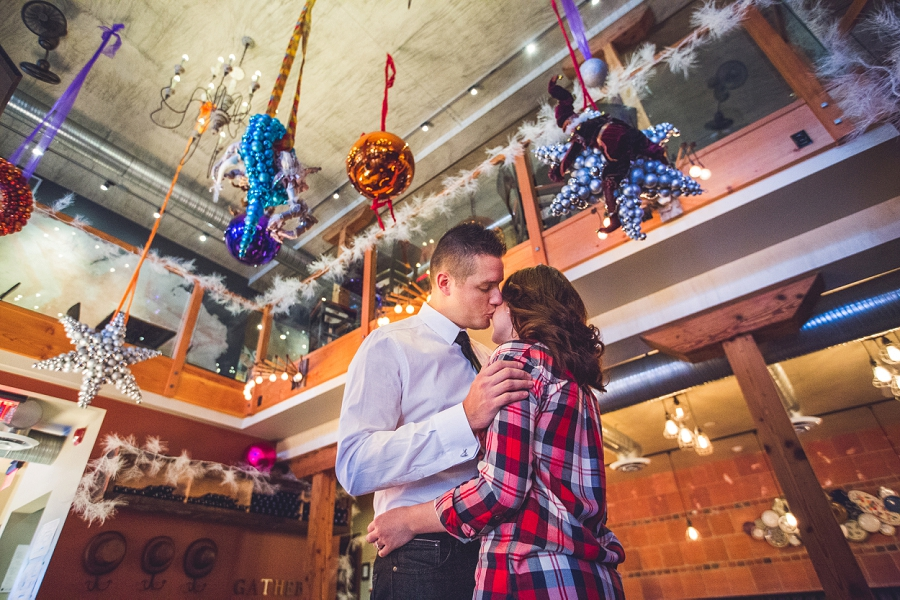 cibo calgary restaurant engagement photos winter decoration