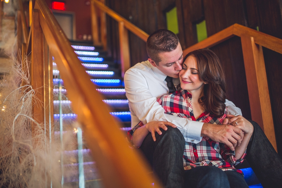 light up stairs cibo calgary restaurant engagement photos
