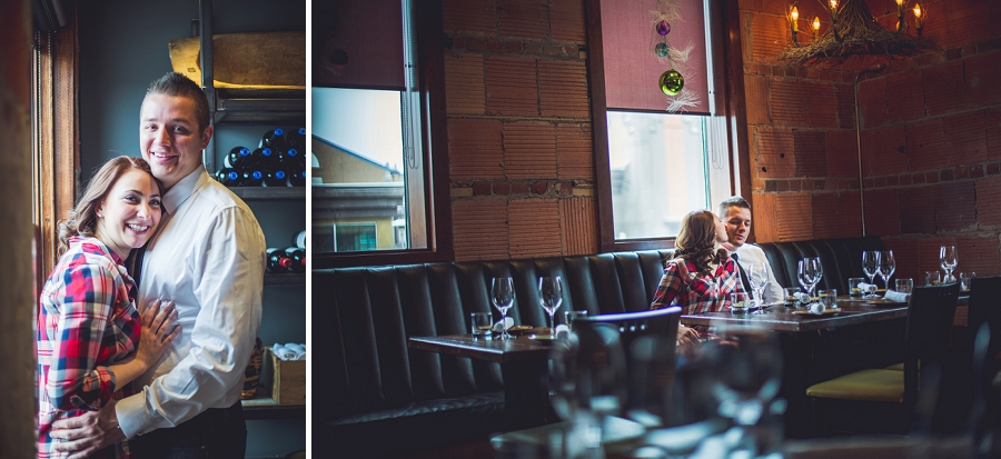 cibo calgary restaurant engagement photos couple by window