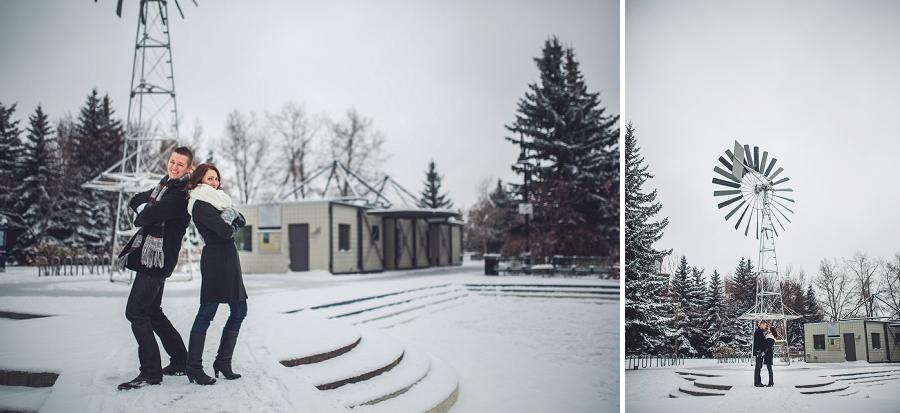 windmill eau claire winter engagement photos calgary engagement photographer anna michalska