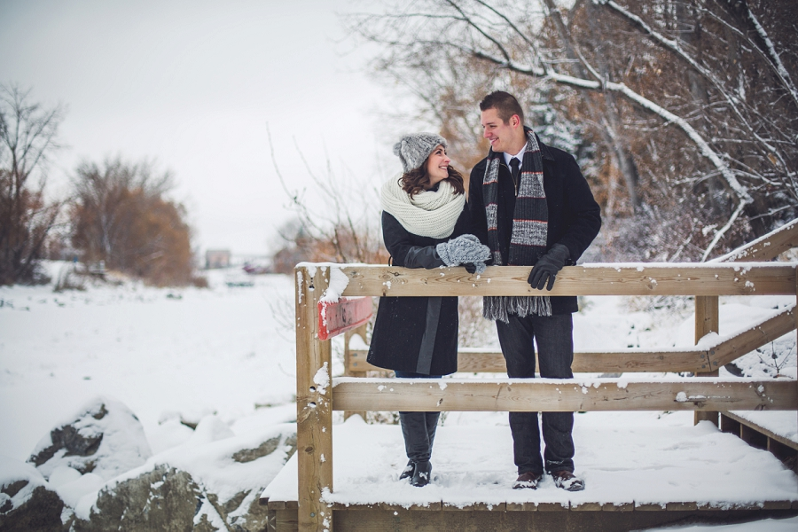 winter engagement photos calgary engagement photographer anna michalska prince's island park wood stairs
