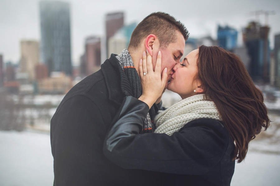 skyline downtown rotary park winter engagement photos calgary engagement photographer anna michalska