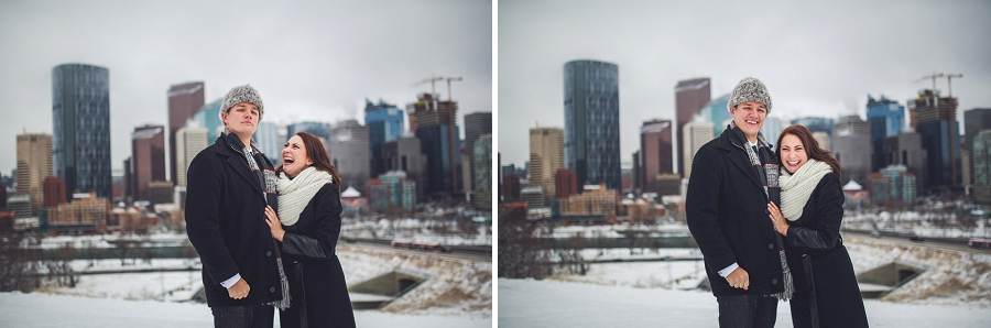 silly hat groom winter engagement photos calgary engagement photographer anna michalska