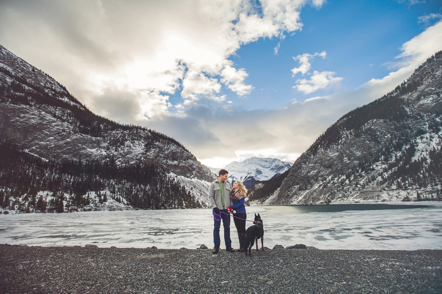 riders of rohan frozen lake mountain winter engagement photo banff