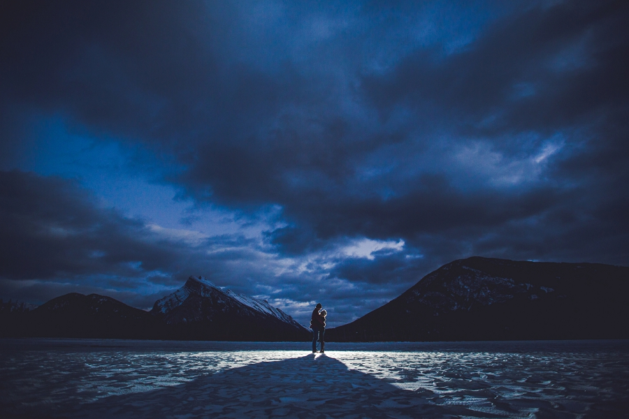 lake vermillion winter engagement photo banff