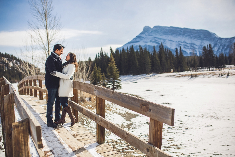 banff cascade mountain pond winter engagement session