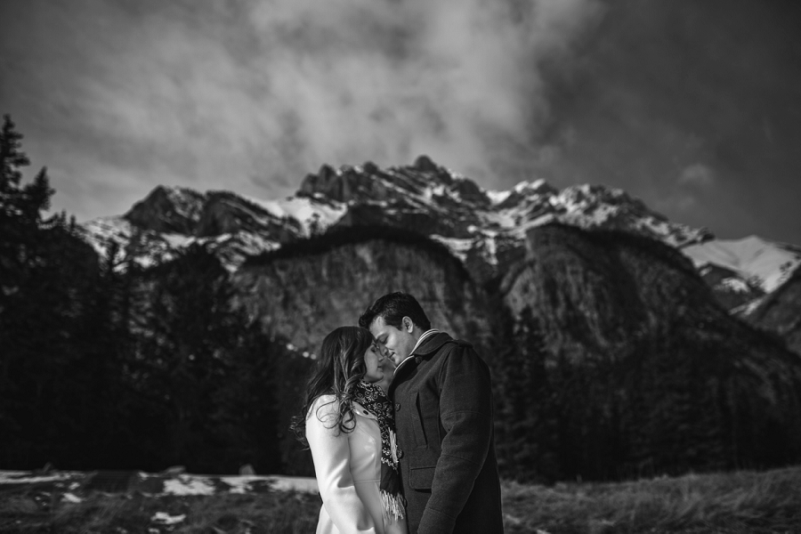 banff winter engagement photos mountain black and white