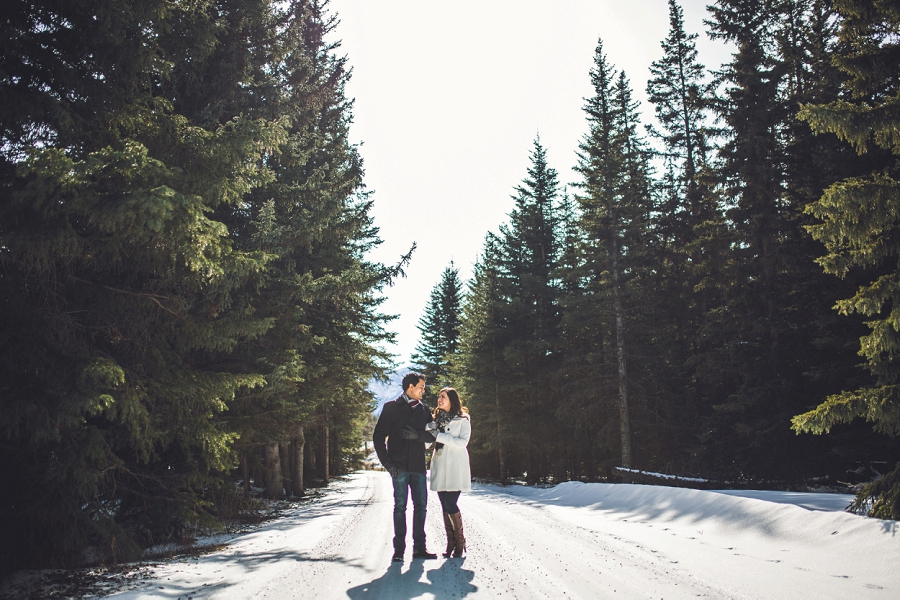 winter engagement session banff snow
