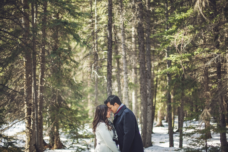 banff couple in forest winter engagement photos anna michalska