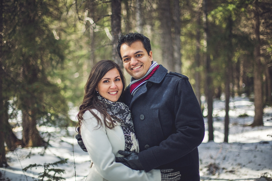 forest engagement session banff winter couple photos