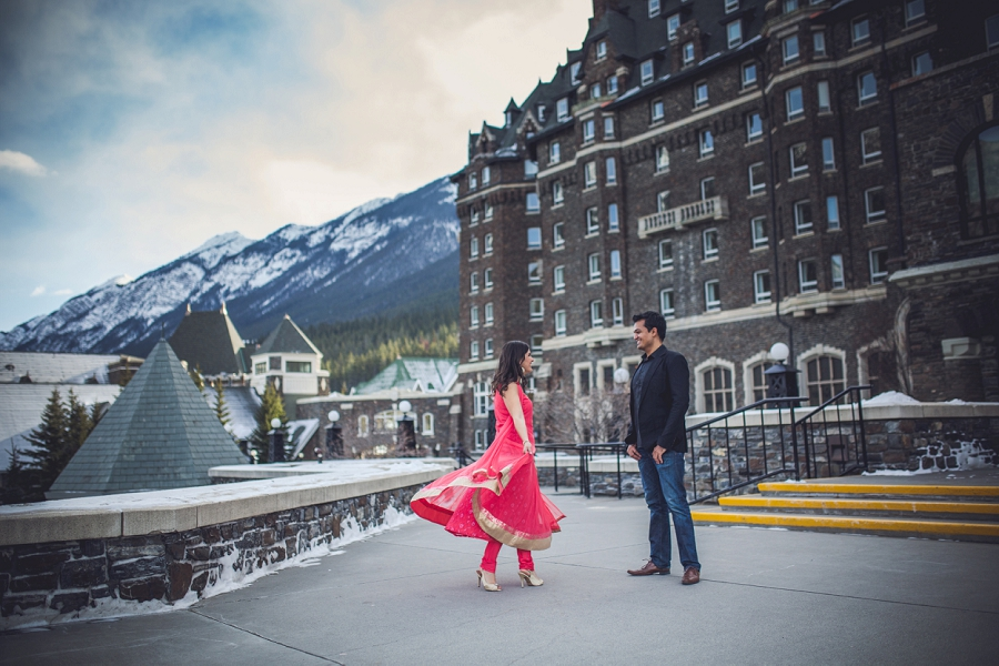 banff springs hotel traditional sari engagement photos
