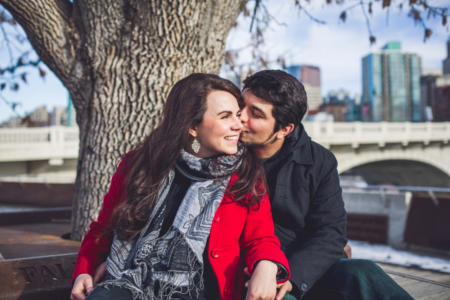 couple kissing kensington calgary engagement photos anna michalska