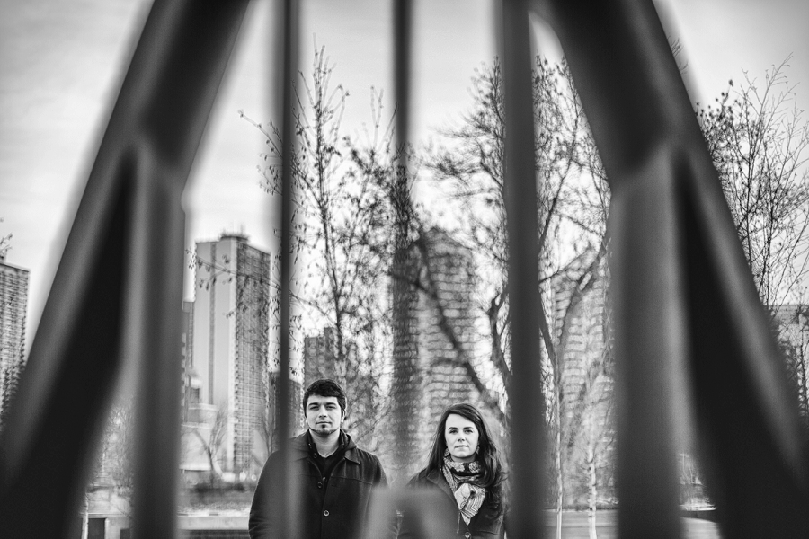 couple serious face memorial drive kensington calgary engagement photos
