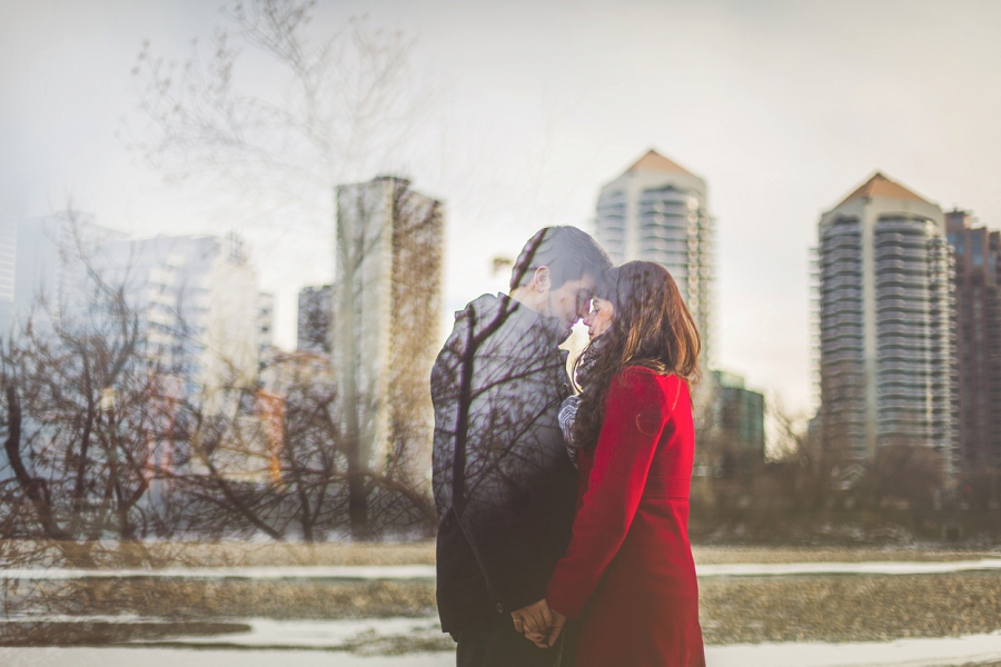kensington calgary engagement photos river downtown prism lens