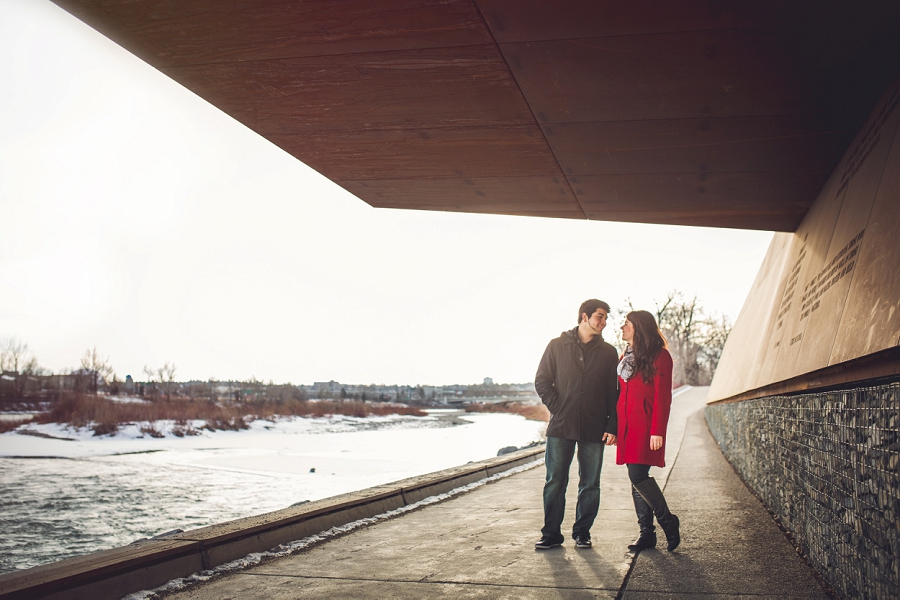 kensington calgary engagement photos river red jacket