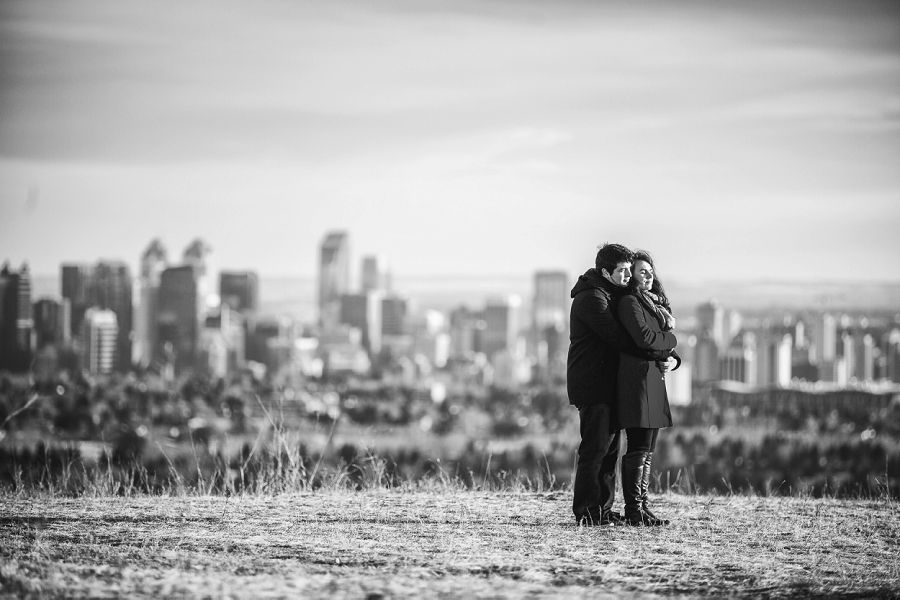 calgary downtown skyline nose hill park engagement session