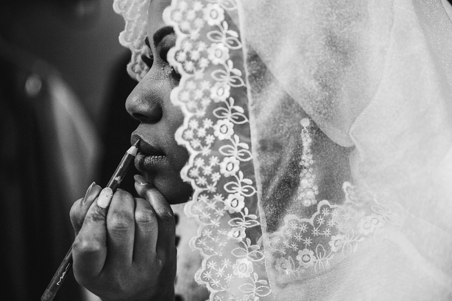 bride lip liner multicultural islamic wedding in calgary photographer