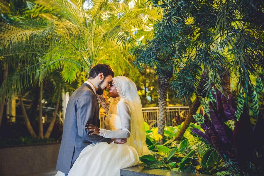 wedding bride groom multicultural islamic wedding in calgary photographer devonian gardens