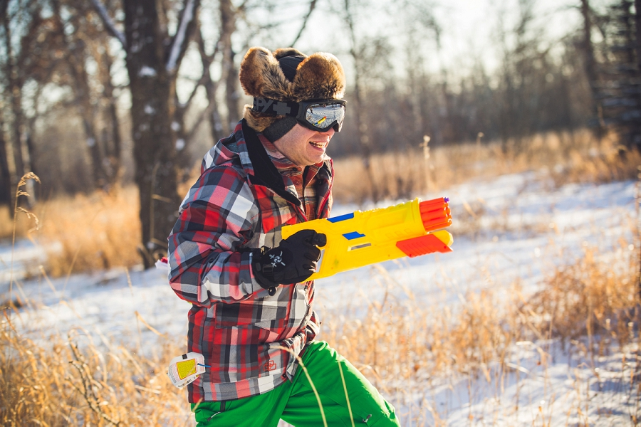 yell nerf gun fight calgary engagement photos snow