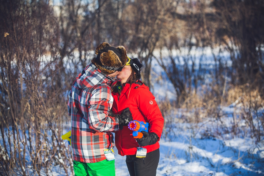 calgary couple kiss ski gear nerf gun fight