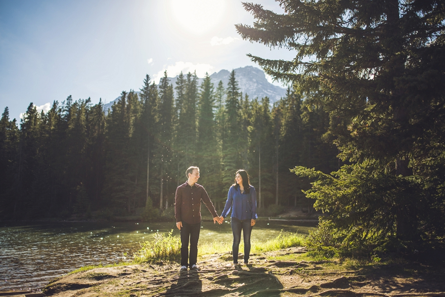 couple two jack lake banff alberta engagement photos