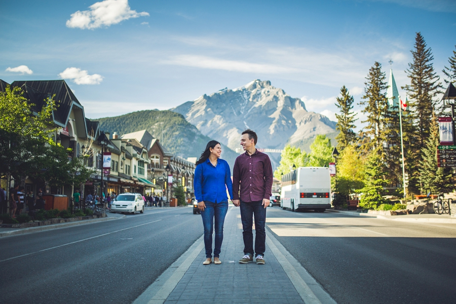 evelyn's banff coffee shop engagement photos