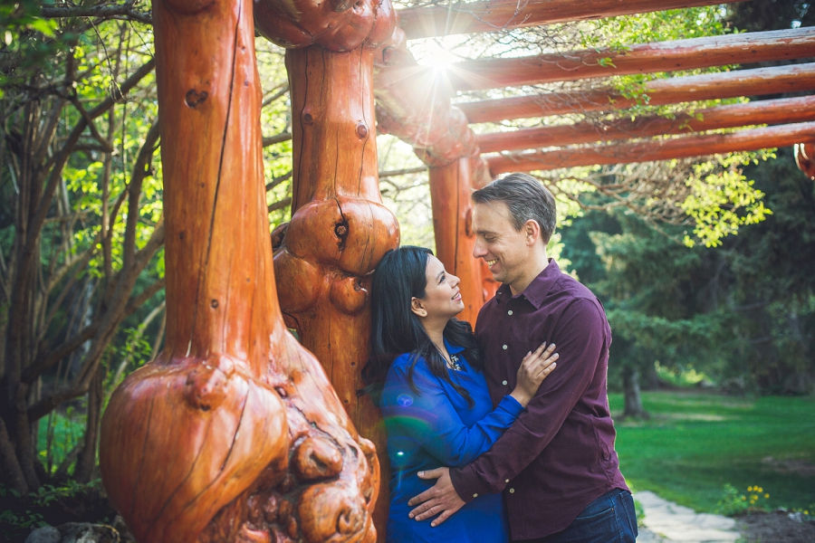 banff engagement photos cascade gardens wooden bridge