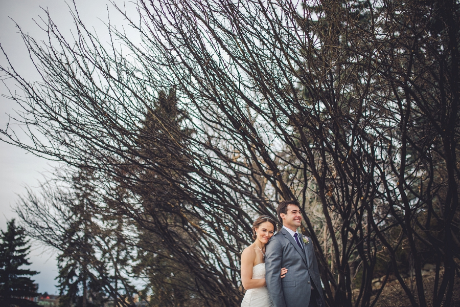 bride hugging groom with dead trees reader rock gardens calgary wedding photography pi day