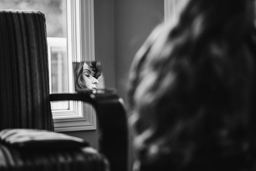 bride reflection in mirror getting ready calgary wedding