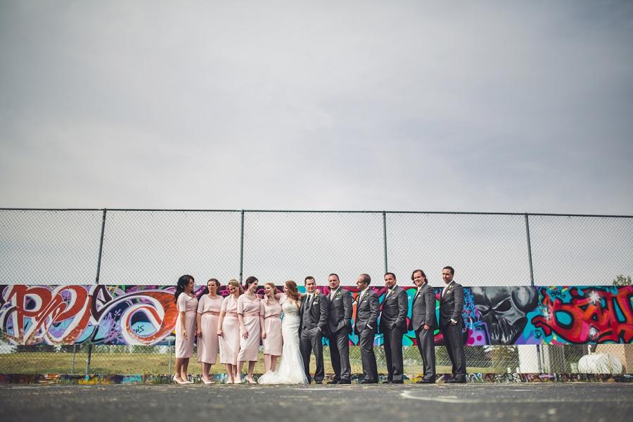 graffiti tennis court bride groom bridal party calgary wedding