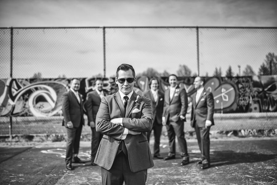 groom aviator shades with groomsmen calgary wedding