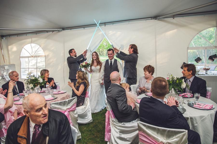 bride groom lightsaber entrance calgary
