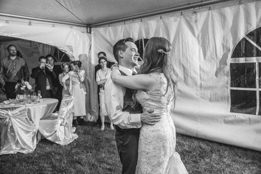 bride groom first dance calgary tent wedding