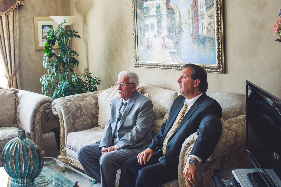 two italian gentlemen waiting for the bride