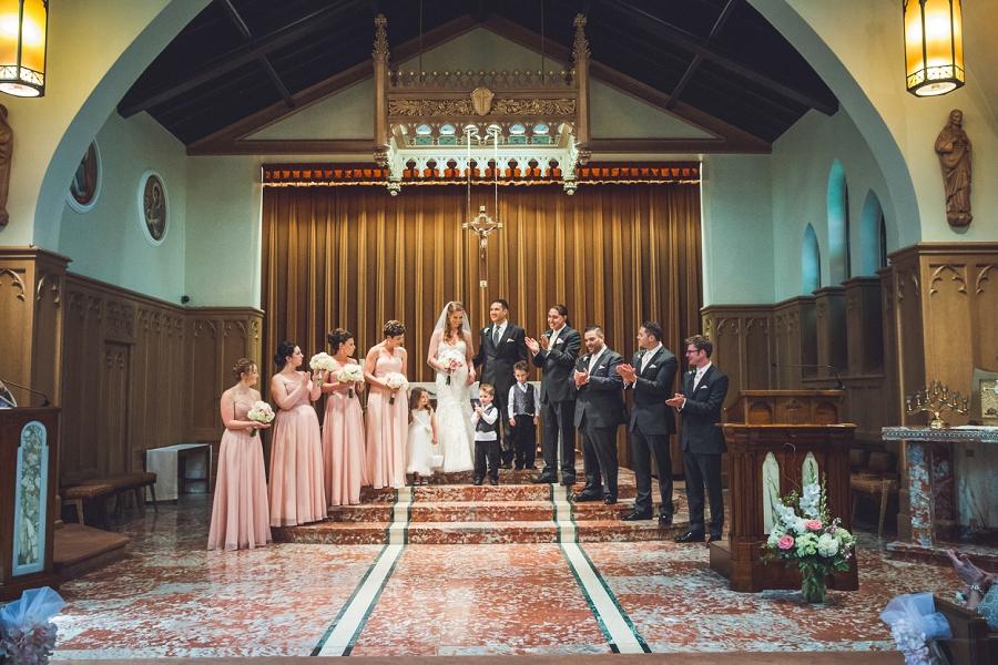pink bridal dresses wedding at sacred heart church