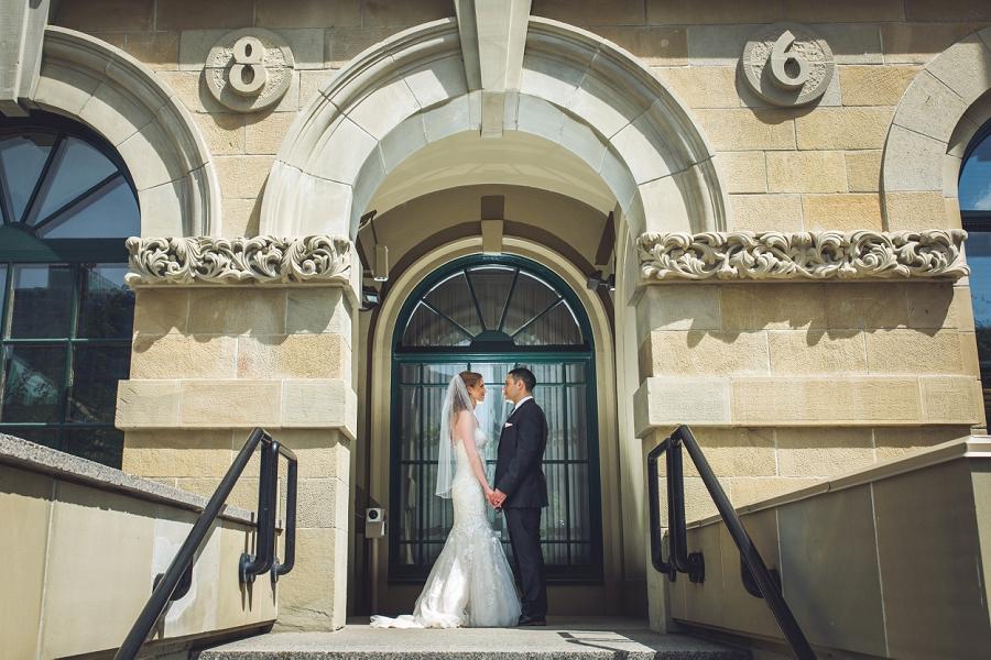mcdougall centre vintage building calgary wedding couple