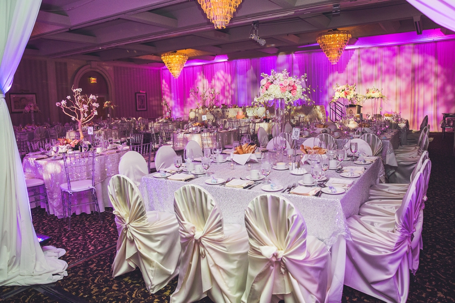 pink purple wedding decor carriage house inn calgary wedding reception