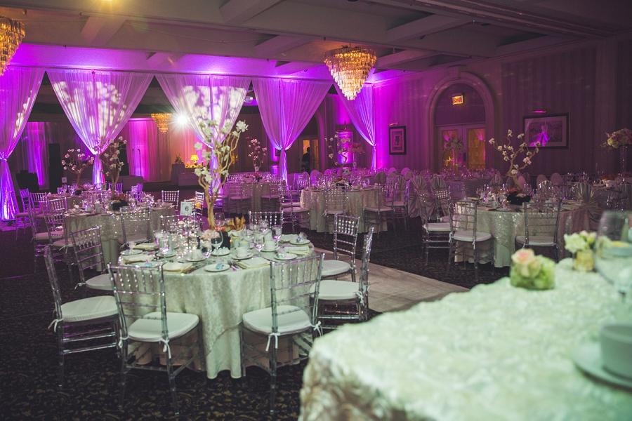 pink white floral wedding reception carriage house inn calgary wedding reception