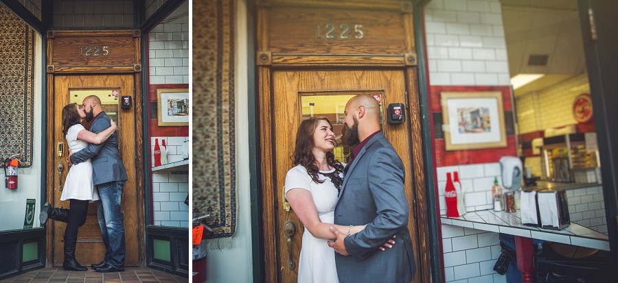 calgary inglewood engagement session cute retro diner