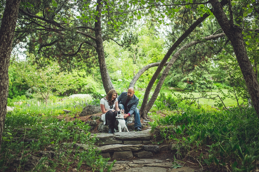 couple with puppy calgary reader rock garden engagement photos