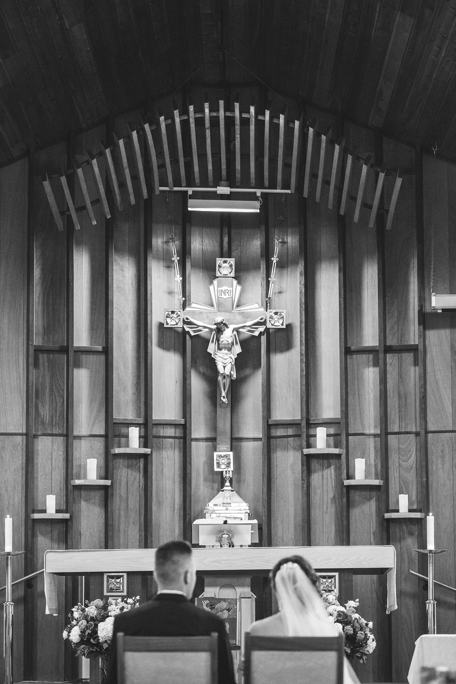 our lady of the rockies parish canmore bride and groom black and white
