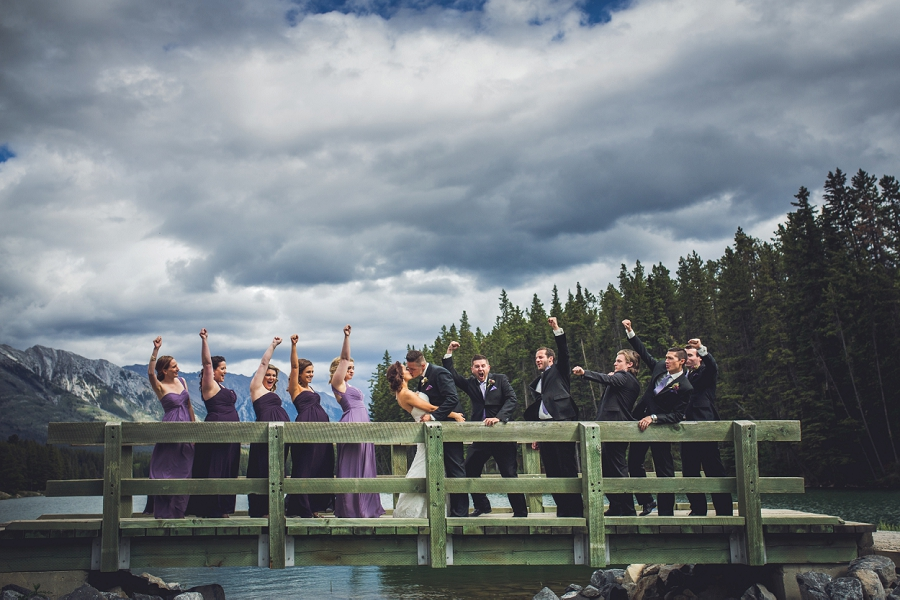 canmore wedding party cheering