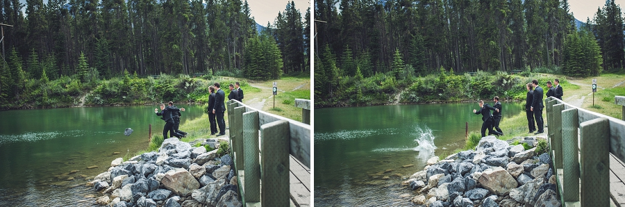 canmore groomsmen goofing off