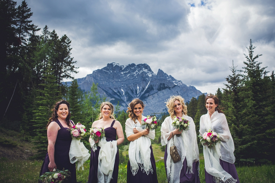 bridesmaids with mountain in canmore