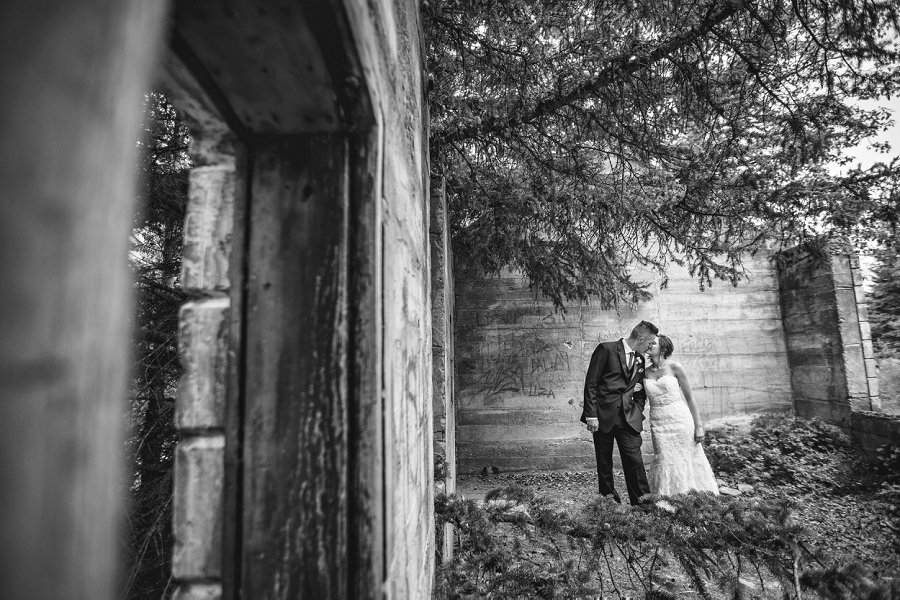 bride groom black and white canmore lower bankhead ruins
