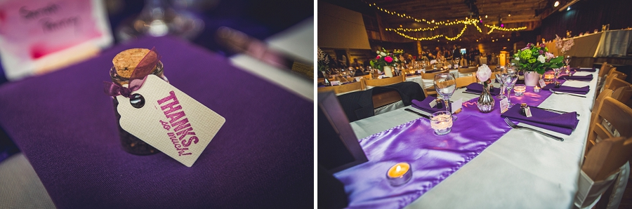 cornerstone theatre canmore wedding reception purple decor