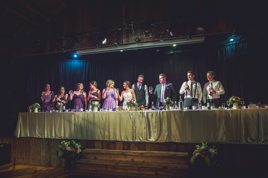 head table cheers cornerstone theatre canmore wedding