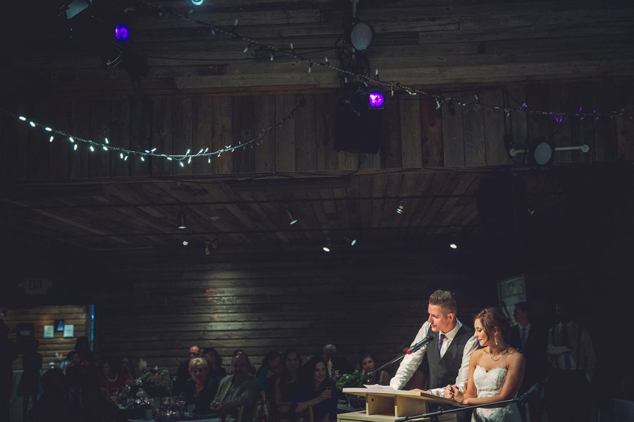 bride and groom speech cornerstone theatre canmore wedding